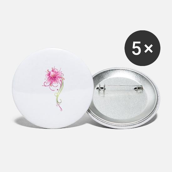 Floral Buttons - Colorful orchid with filigree ornament, pink and g - Large Buttons white