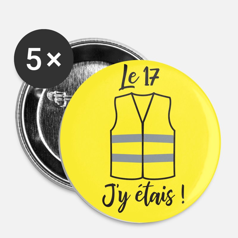 Jaune Badges - gilet jaune - Grands badges blanc