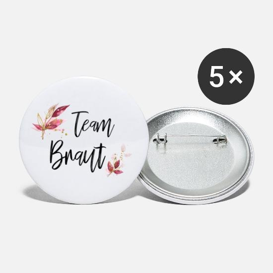 Team Bride Buttons & Anstecker - Team Bride Floral - Buttons groß Weiß