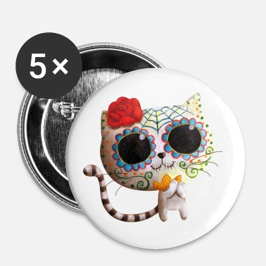 The Day of The Dead Cute White Cat Buttons - Buttons large 56 mm