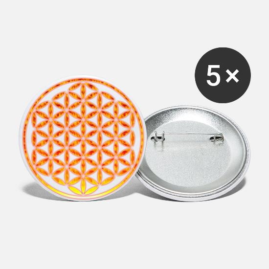 Symbol  Buttons - FLOWER OF LIFE - stamp fire - Large Buttons white