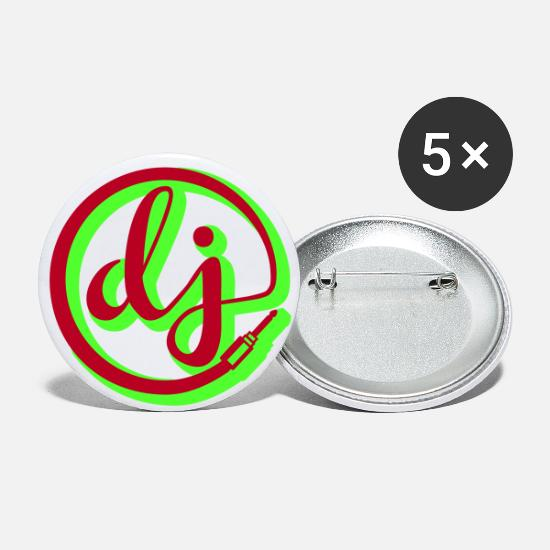 Old School Buttons - dj - Large Buttons white