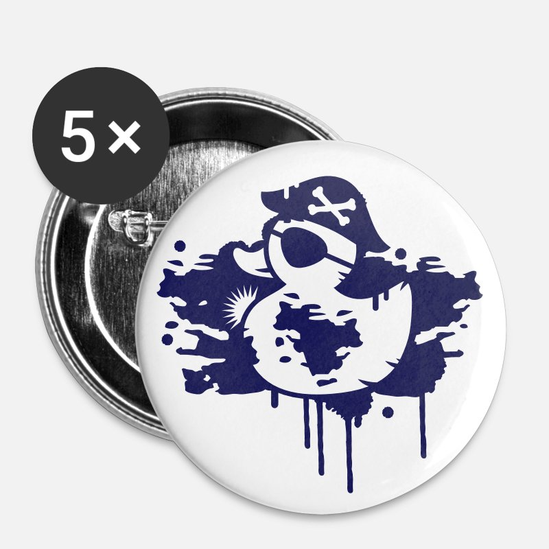 Bathroom Buttons - A rubber duck pirate with a pirate hat and eye patch as a graffiti - Large Buttons white