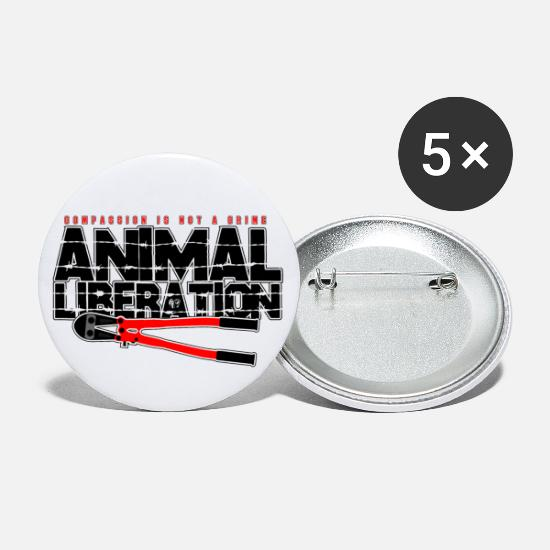 Veggie Buttons - Animal Liberation - Compassion Is Not A Crime - Large Buttons white
