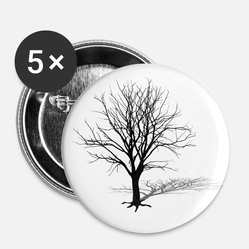 Silhouette Buttons - tree silhouette winter shadow - Large Buttons white