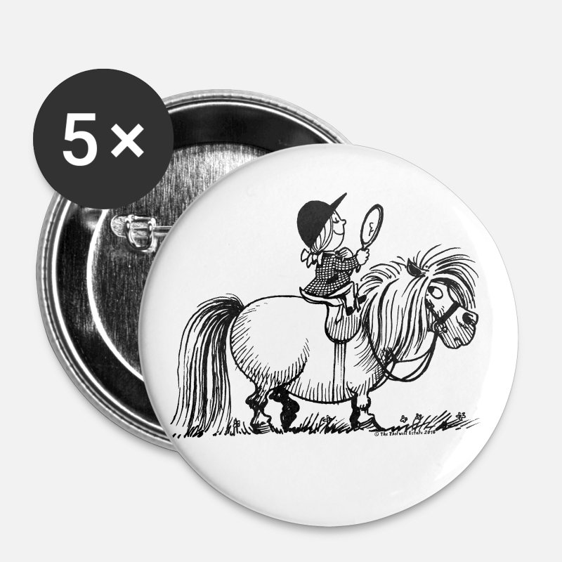 Officialbrands Buttons - Thelwell - Penelope with a mirror - Large Buttons white