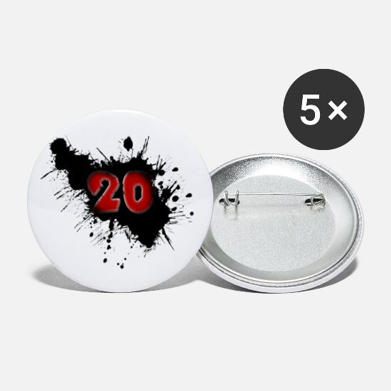 Birth Buttons - Date of birth 20 years - Large Buttons white