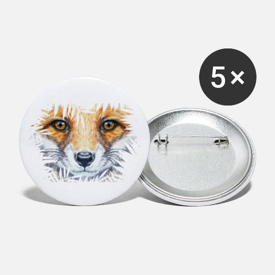 Small Buttons - Little fox in the bush | Yolo Artwork - Large Buttons white