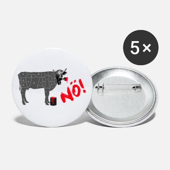 Vache Badges - Power Cow NÖ! Muh! Pas avec moi! déclaration - Grands badges blanc