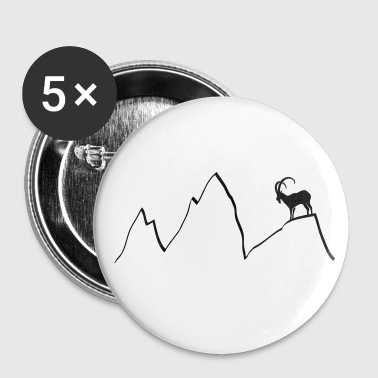 bouquetin montagnes chamois montée capricorne alps - Badge grand 56 mm