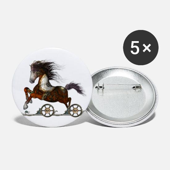 Animal Buttons - Wonderful steampunk horse - Large Buttons white