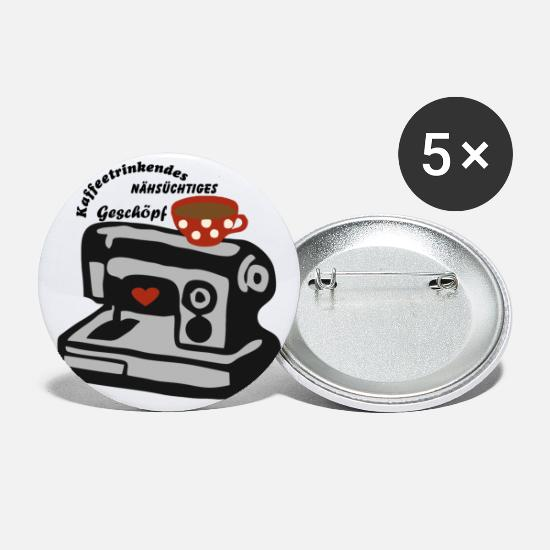 Gift Idea Buttons - Coffee, sewing ... sewing machine - Large Buttons white