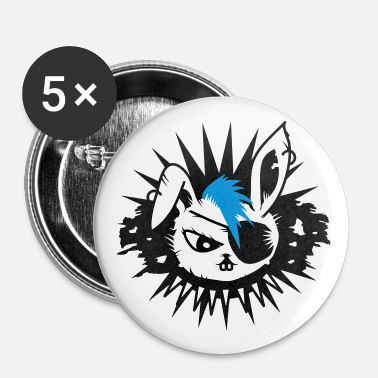 Mohawk  rabbit with an eye patch and a mohawk - Buttons large 56 mm