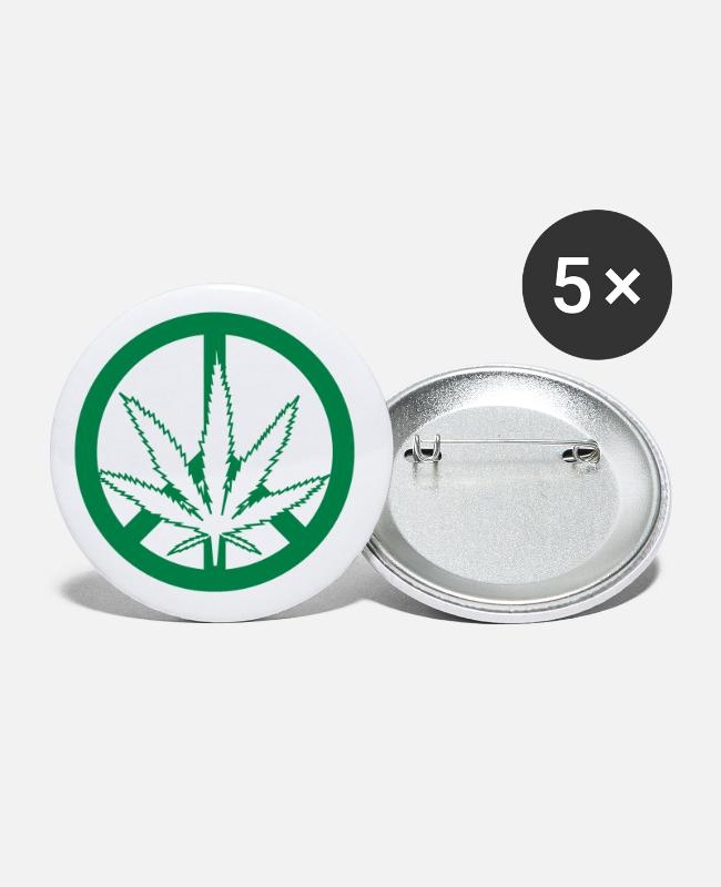 Roken Buttons - Cannabis - Vrede - Vrijheid - Buttons groot wit