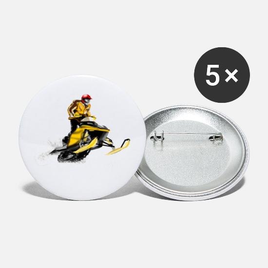 Snowmobil Buttons & badges - snowmobile racing - Store buttons hvid