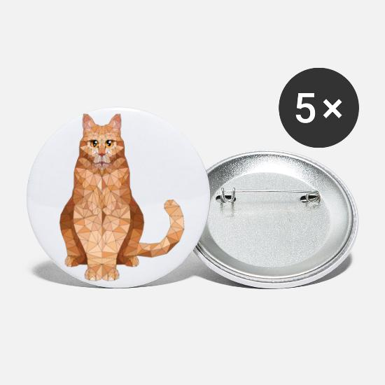 Pet Buttons - Polygon domestic cat Cat Cats Kitten pets - Large Buttons white