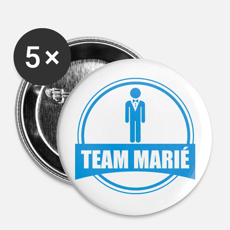 Marié Badges - TEAM marié - équipe du marié - EVG - Grands badges blanc