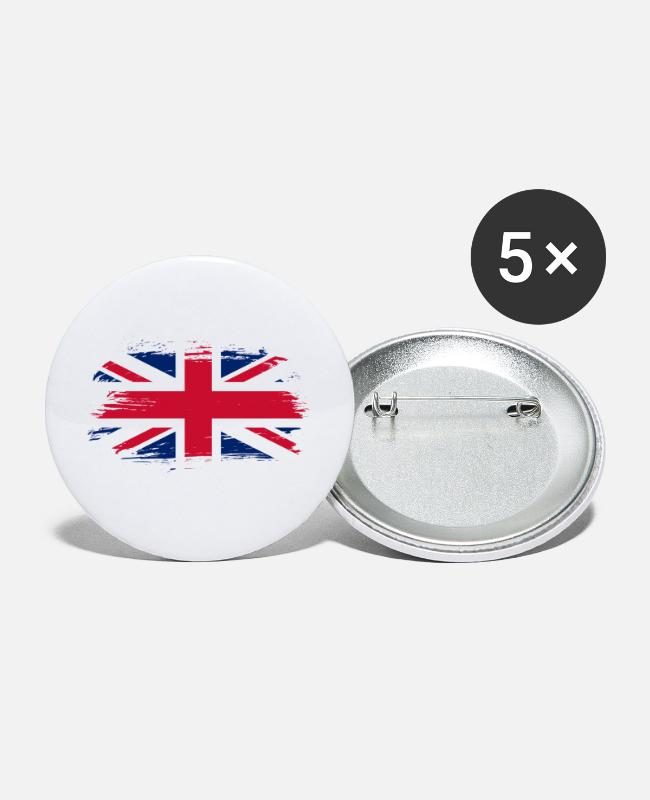 National Team Buttons - Great Britain flag - Large Buttons white