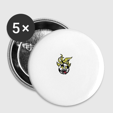 Fußball Fußball-Cartoon 0 lan Flammenfront - Buttons groß 56 mm