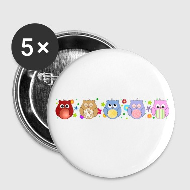 Cute Owls and flowers - Buttons large 56 mm