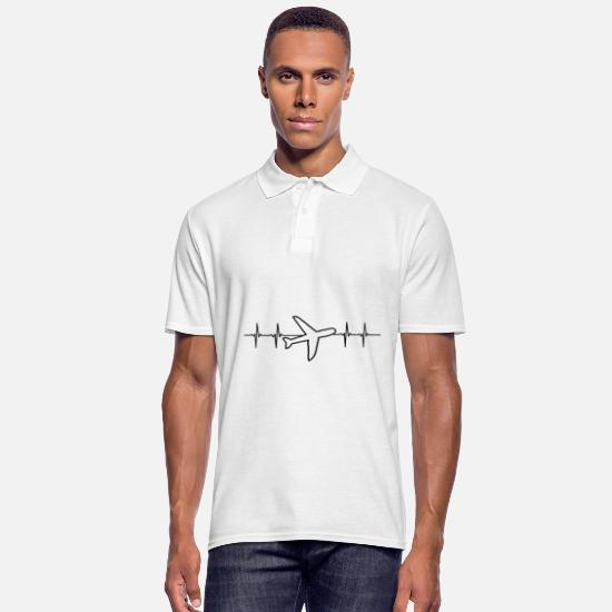 Art Polos - Avion d'aviation ECG cadeau de battements de coeur - Polo Homme blanc