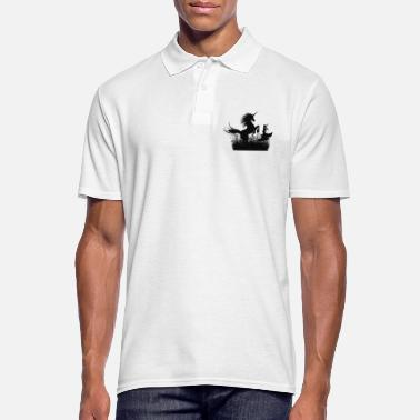 Little fairy with unicorn at night - Men's Polo Shirt