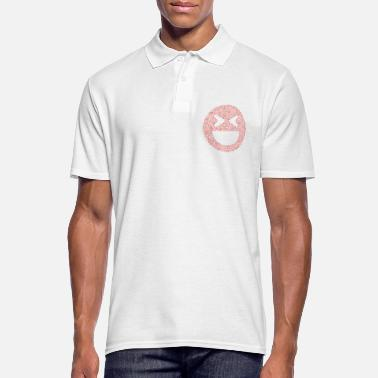 Emoticon Schneeflocken Wortwolke in laugh squint Form (red) - Männer Poloshirt
