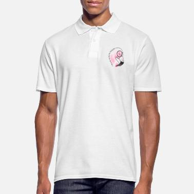 Flamingo with glasses watercolor - Men's Polo Shirt