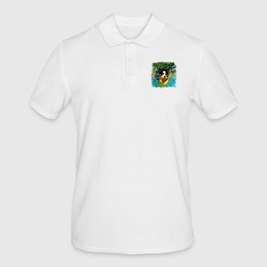 gxp border collie jumps in the water vector art - Men's Polo Shirt