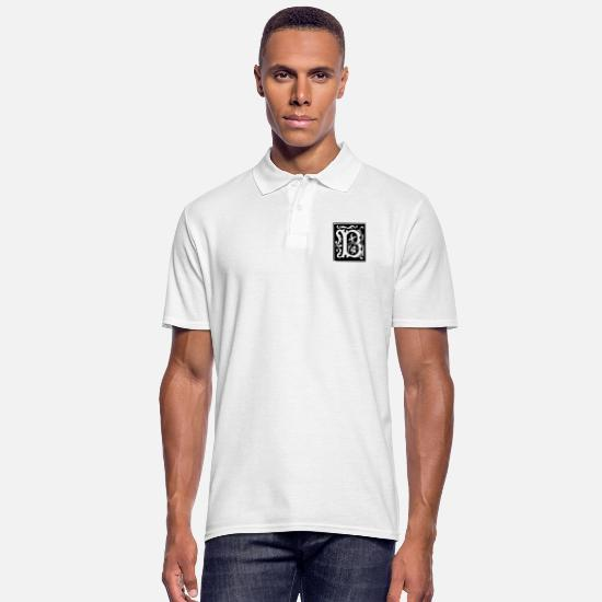 Tekens Poloshirts - Letter B in abstracte vorm - Mannen poloshirt wit