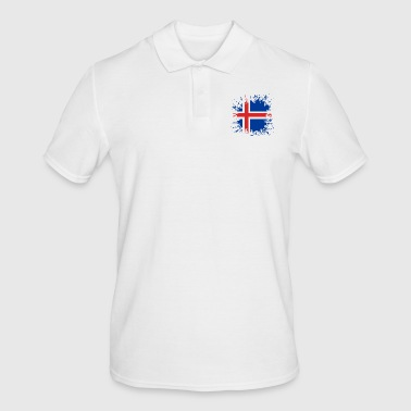 Paint Splatter Iceland flag color splashes - Men's Polo Shirt