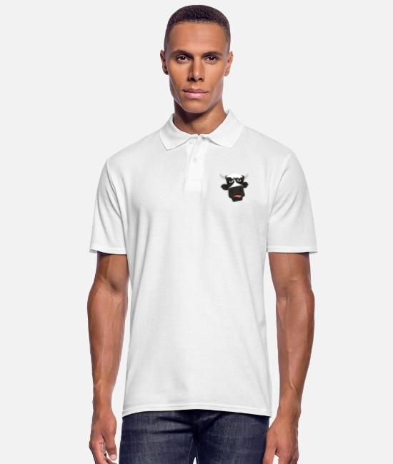 Alm Polo Shirts - Funny TShirt with cow motif comic style tongue - Men's Polo Shirt white