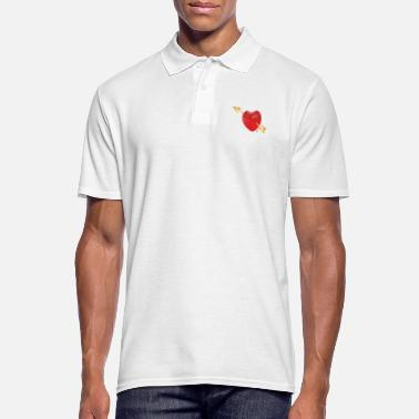 Cupido juicy red strawberry with golden arrow Cupid - Men's Polo Shirt