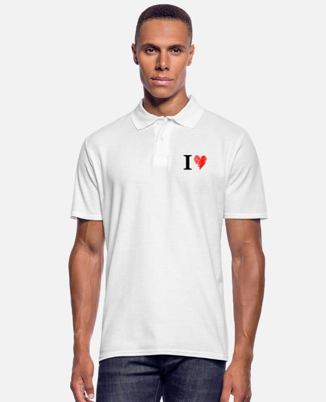 Lovestruck Camisetas polo - Amo el negro - Camiseta polo hombre blanco