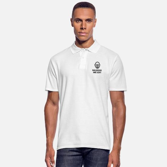 Skinhead Polo Shirts - Baldheads Are Sexy! (Bald Head / 1C) - Men's Polo Shirt white