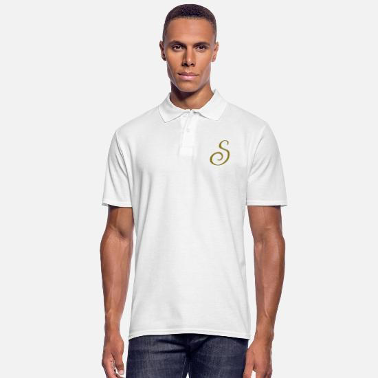 Letter Polo Shirts - S - Letter - Men's Polo Shirt white
