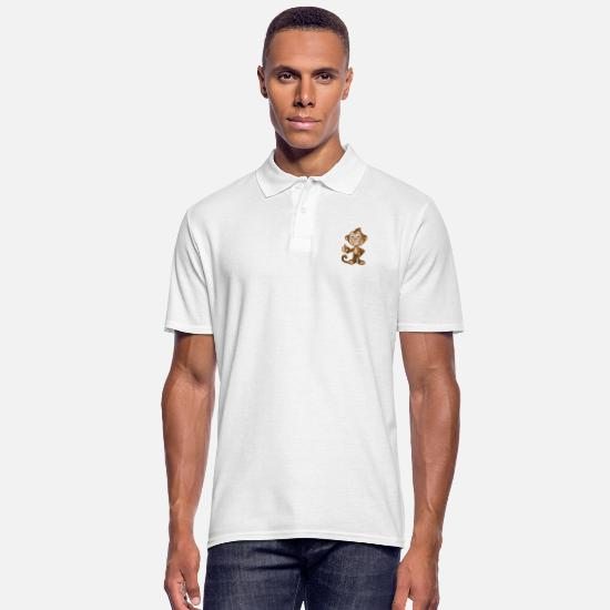 Monkey Polo Shirts - Cheeky Monkey - Thumbs Up - Men's Polo Shirt white