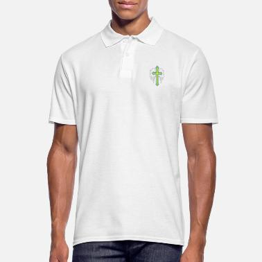 God Angel wings with cross drawing - Men's Polo Shirt