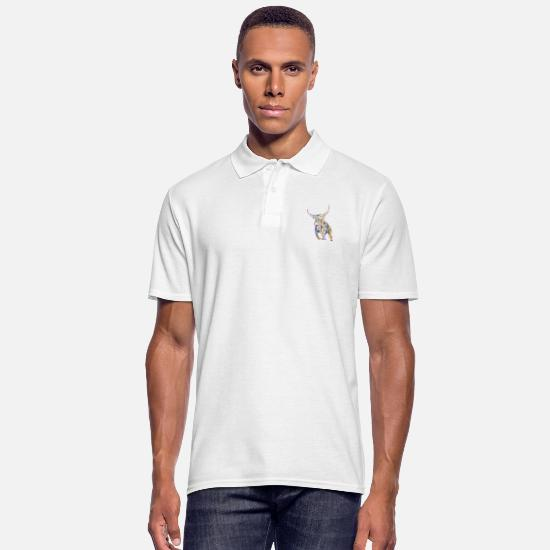 Tribal Polo Shirts - Bull tribal - Men's Polo Shirt white