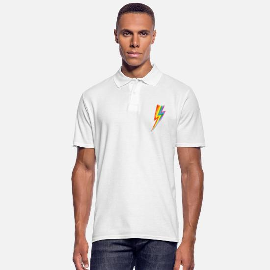 Lightning Polo Shirts - Rainbow Power Blitz - Hit by rainbow lightning! - Men's Polo Shirt white