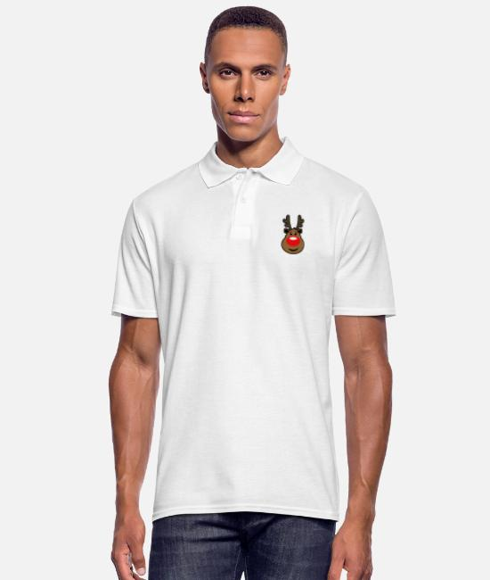 Christmas Carols Polo Shirts - Rudolph, the red nosed Reindeer Christmas design - Men's Polo Shirt white