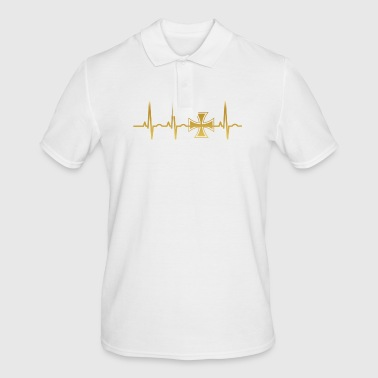 evolution ekg heartbeat iron cross eisernes kreuz - Männer Poloshirt