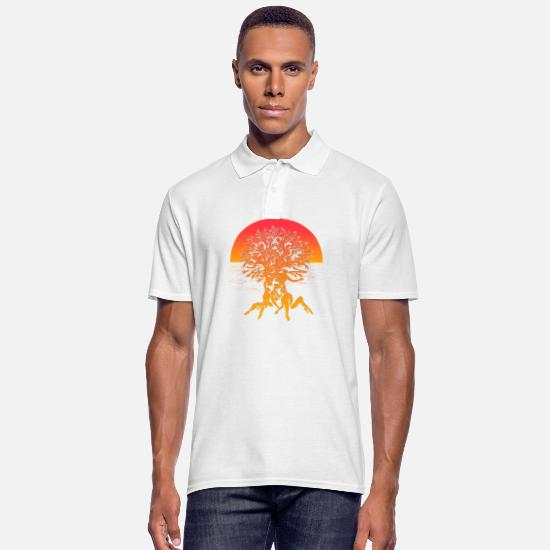 Meditation Poloshirts - Tree of life Summer Sunset Spiritual Yoga Shirt - Männer Poloshirt Weiß