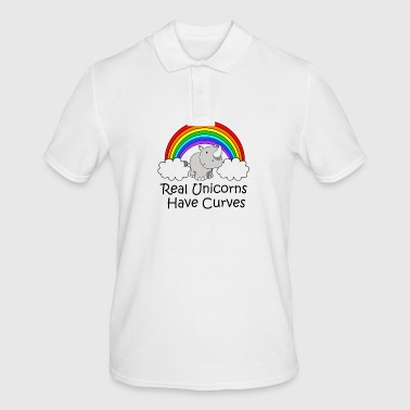 Real Unicorns Have Curves met black writing - Mannen poloshirt