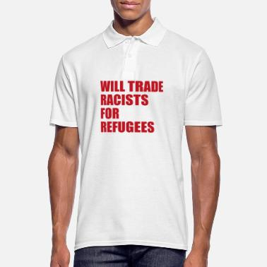 Fighter Will trade Racists for Refugees Anti Rassismus - Männer Poloshirt
