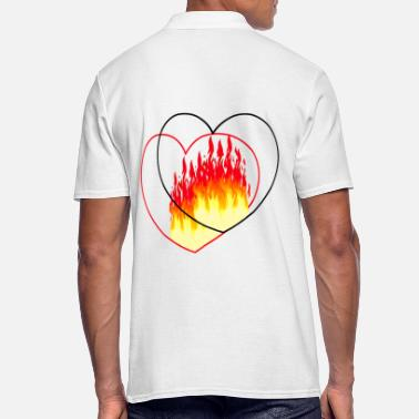 Romantic Heart Wedding Heart love romantic flames valentine wedding - Men's Polo Shirt