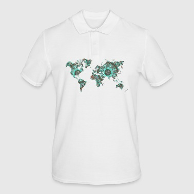 World map with mandala gift map - Men's Polo Shirt