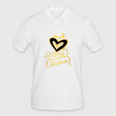 gold heart Glamour Christmas Xmas Moose star - Men's Polo Shirt