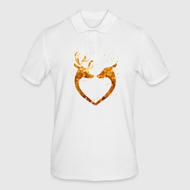 Heart Christmas Glamour Gold deer deer Love romant - Men's Polo Shirt