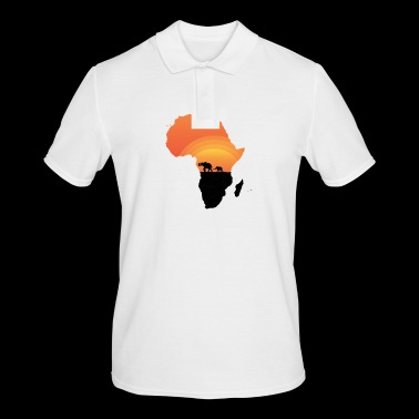 Africa - Elephant - Map - Map - Sunset - Men's Polo Shirt